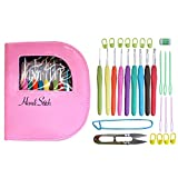 Crochet hook set with ergonomic crochet hooks for ultimate comfort-crochet for longer with no pain in hand-crochet kit with sturdy case, 9 crochet needles and 30 accessories to stay organized