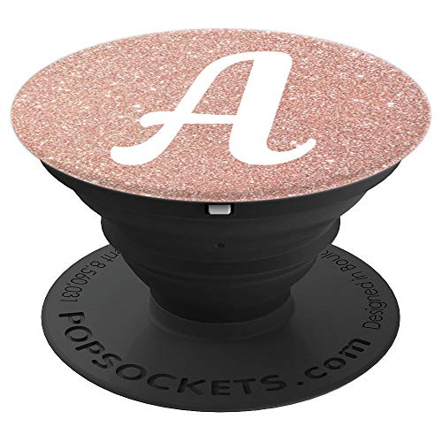 Pop Socket Cell Phone A Initial rose gold Capital Letter A - PopSockets Grip and Stand for Phones and Tablets ()