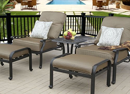 Heritage Outdoor Living Cast Aluminum Elisabeth Outdoor Patio 5pc Deep Seating Set with Adjustable Club Chiars - Includes (2) Adjustable Club Chairs, (2) Ottomans, (1) End Table, Seat & Back Cushions, Throw Pillows Sold Seprately - Antique Bronze Finish