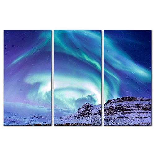 3 Pieces Modern Canvas Painting Wall Art The Picture For Home Decoration Northern Light Aurora Borealis Kirkjufell Iceland Winter Landscape Jokul Print On Canvas Giclee Artwork For Wall Decor