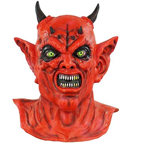The Red Evil Devil Latex Mask Halloween Horned Hell Demon Costume