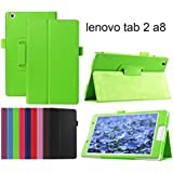 Lenovo Tab 2 A8-50 Case, Lenovo Tab 2 A8-50 Cover, DEENOR PU Leather Case Cover with Auto Sleep / Wake Feature for Lenovo Tab 2 A8-50 8 inch (not fit for Lenovo Idea Tab A8-50 A5500 8-inch). (GREEN)