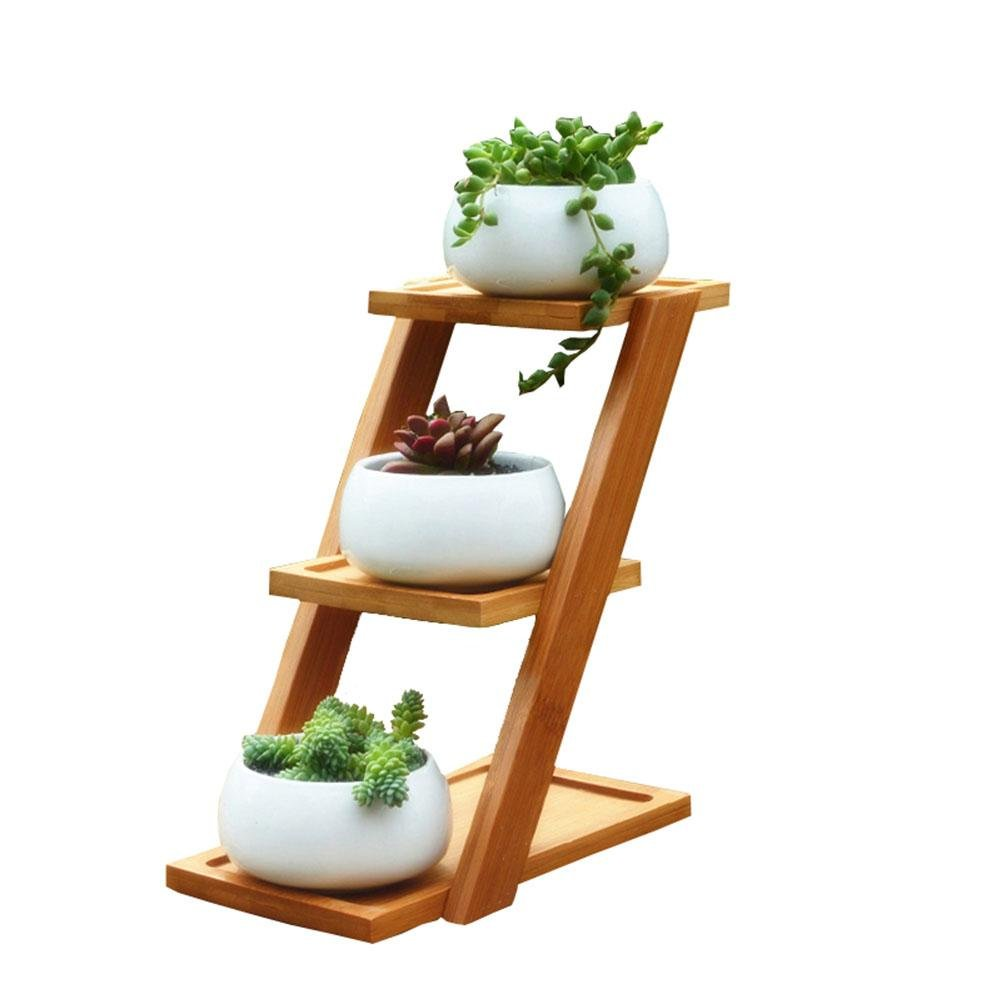 pretty-H 3 Tiered Plant Stand Corner Shelf Flower Pots, Bamboo Wood Desktop Small Succulent Plant Stand Ceramic Owl Garden Pots Garden Balcony Decorative Holder Display Shelf Ladder Outdoor/Indoor
