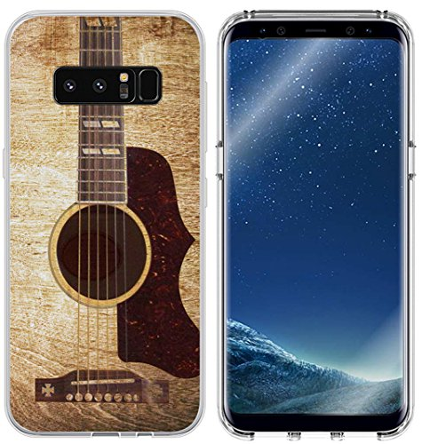 S8 Plus Case Guitar & Galaxy S8 Plus Protector & MUQR Slim Silicone Rubber Protective Cover Replacement Compatible for Samsung Galaxy S8 Plus & Vintage Guitar Music Theme