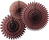 Hanging Honeycomb Tissue Fan, Brown, Set of 3 (13 inch, 18 inch, 21 inch)