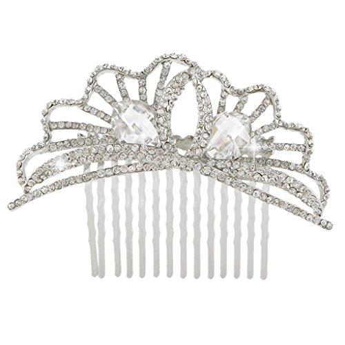 Crystal Fan Shape (EVER FAITH Women's Austrian Crystal Party Fashion Hollow-out Fan Shape Hair Comb Clear Silver-Tone)