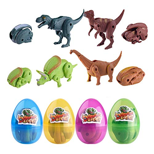 QingQiu 4 Pack Jumbo Dinosaur Deformation Easter Eggs with Toys Inside for...