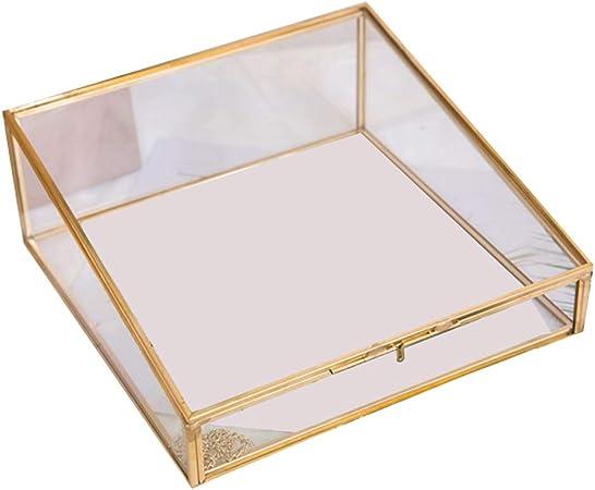 HAOCHIDIAN Joyero Creativo de Cristal Transparente, Caja pequeña de Almacenamiento de Cobre Dorado, Caja de Almacenamiento portátil para Guardar Anillos, Collares, para Viajes en casa: Amazon.es: Hogar