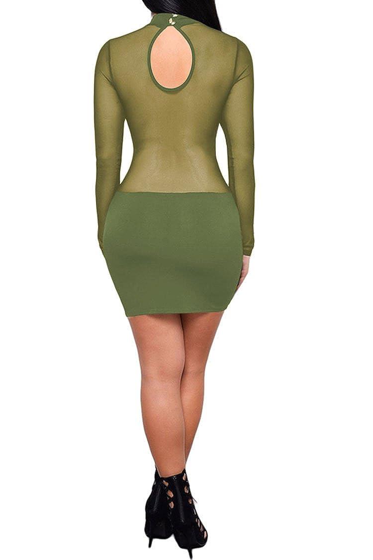 1647bcfac59fc Amazon.com: PinkWind Women Sexy Sheer Mesh Stretch Long Sleeve Nightclub  Mini Bodycon Dress: Clothing