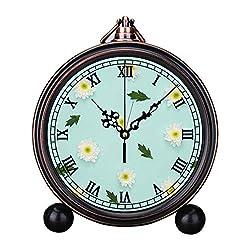 Retro Innovative Student Clock Alarm Clock Table Iron Decoration Desktop Clock Round White Flowers and Leaves Decor