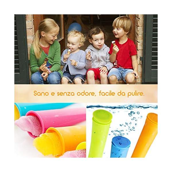 Icnow Stampi Ghiaccioli, 9 Stampi per Gelato con 5 Stampi in Silicone,con Spazzola e Imbuto,FDA e BPA Gratis… 6