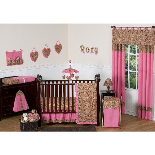 (Sweet Jojo Designs Cheetah Pink Collection 4-piece Baby Crib Bedding Set)