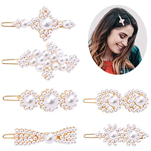(Pearl Hair Clips set for Women,6 Pcs Barrettes Fashion Artificial Pearl Various style Hair Clips set Hair Accessories for Party Birthday Valentines Day Gifts Cute Styling Gifts for Ladies, Girls(6pcs))