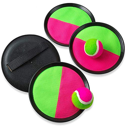 Kicko Toss and Catch Toys Paddle Mitts and Balls - 2 Sets Perfect for Sports, Beach, Birthday, Novelties, Event and Game Prizes, Educational, Party Favor and Supplies]()