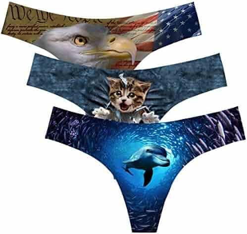 1ab9dda0a273 JUSICA Womens Cute 3D Printed Animal Briefs Fashion Funny Naughty Print  Underwear Panties