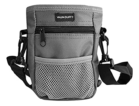 Dog Treat Training Bag with Mesh Pouch for Ball or Toys - Includes Waste Poop Bag Dispenser and Large Front Pocket with Zipper - 3 Options to Wear - Clip, Belt or Over the Shoulder Strap