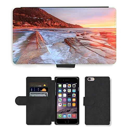 "PU Leather Cover Custodia per // M00421727 Sand Beach Côte Shore Sunset // Apple iPhone 6 4.7"""