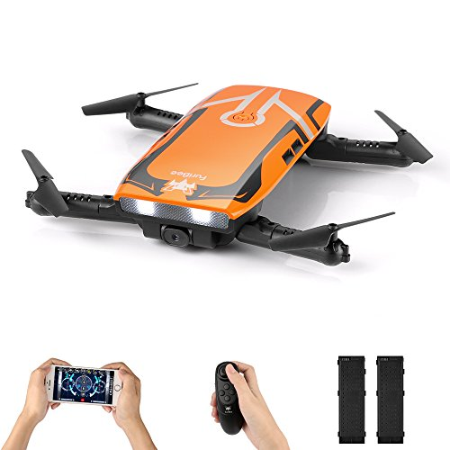 FuriBee FPV Mini Drone RC Quadcopter with 720P HD Wi-Fi Camera H818 Selfie Drone Foldable with Protective Case Gravity Sensor Control Altitude Hold for Kids and Beginners (Orange 2 Batteries)