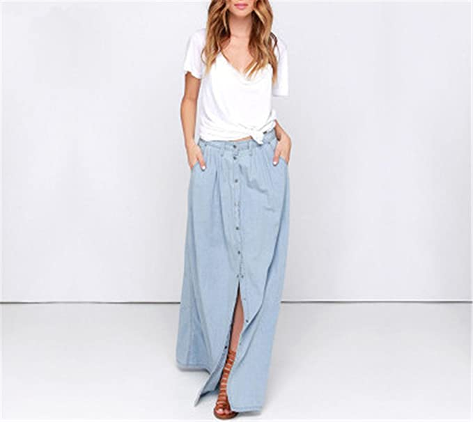 5256d8db9 Women Denim Maxi Skirt-Palewash Long Jean Skirt at Amazon Women's Clothing  store: