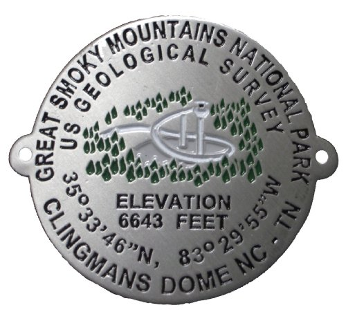 Clingmans Dome - Great Smoky Mountains - Clingman's Dome Benchmark - Hiking Stick Medallion