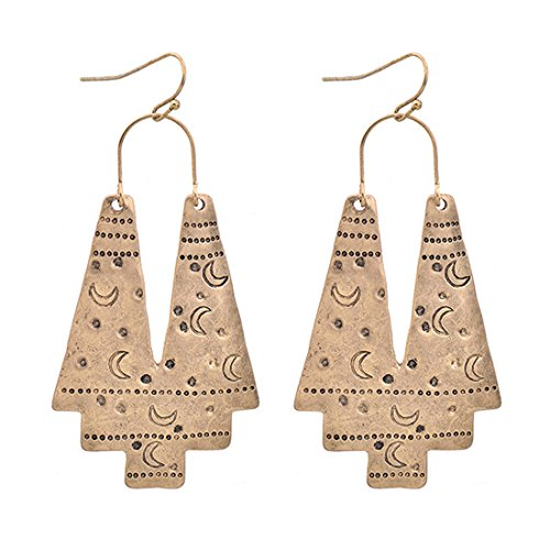 Gudukt Vintage Geometric Drop Earrings Carving Moon Pattern Big Gold Statement Earrings For (Geometric Vintage Earrings)