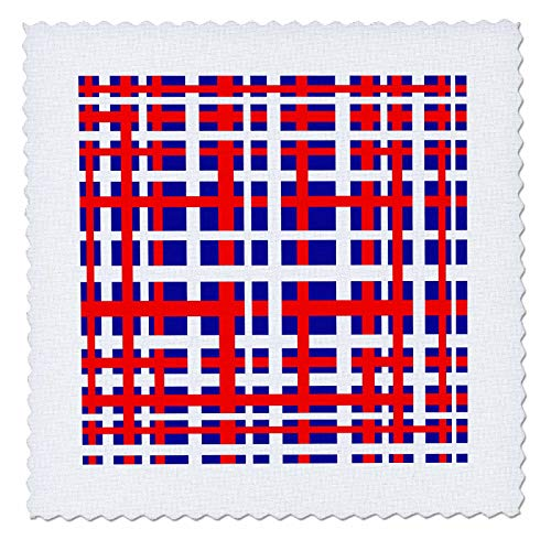 3dRose BlakCircleGirl - Holiday - Patriotic Plaid - Fun and Bold Striped Design in red White and Blue Weave - 8x8 inch Quilt Square (qs_286908_3)