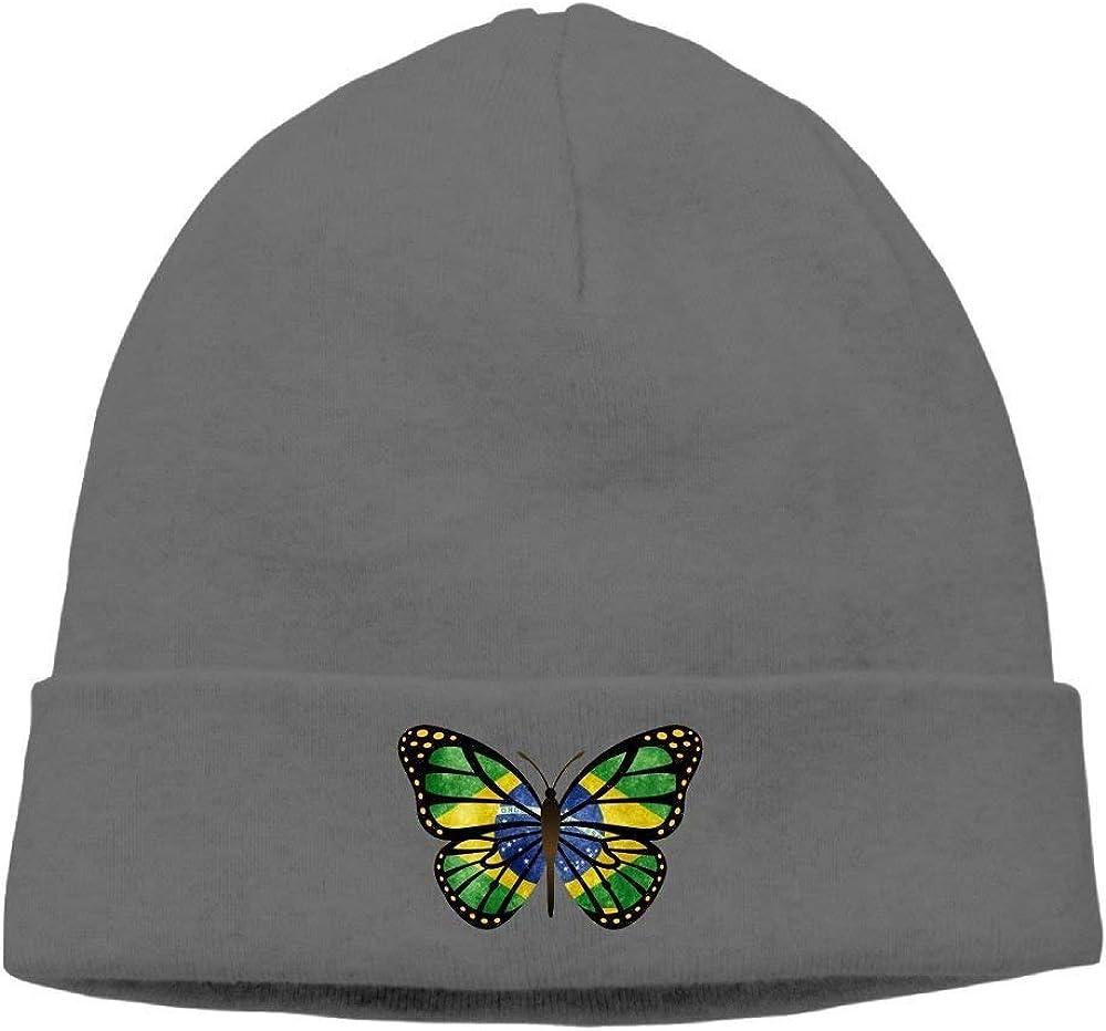 Brazil Butterfly Unisex Wool Flock Cotton Knit Winter Warm Ski Hat Beanie Cap