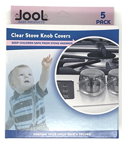 Clear Stove Knob Covers (5 Pack) Child Safety Guards, Large Universal Design - Baby Proof by Jool Baby