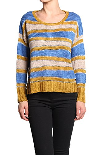 Metallic Stripe Sweater - TheMogan Women's Metallic Stripe Long Sleeve Knit Sweater Navy-SM