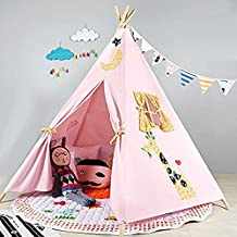 Loisleila Five Poles Indian Play Tent Children Teepees Kids Tipi Tent Cotton Canvas Teepee Play House for Baby Room