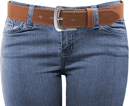 Luna Sosano Women's Thick Wide Stitched Buckle Leather Dress Belt - Tan - X -