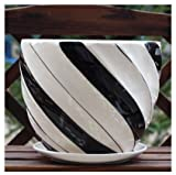 Ceramic Home/ Garden Modern Flower Planter Pot with Saucer/ Tray – Outside Black and White Stripe Design For Sale
