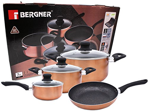 Bergner BG-9265-CP 7 PC Cookware Set Marble Coating Induction Cooking Nonstick Saucepan Frypan Casserole Pots and Pans With Lids Hard Pressed Aluminum Soft Touch Handles Stovetop Safe No PFOA ()