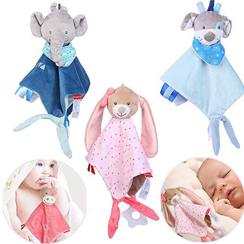 LtrottedJ Newborn Soft Baby Teddy Bear Puppet Toy Gift Snuggle Baby Comforter Blanket (Sky Blue) -