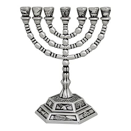 Amazon Seven Branch Menorah Silver Plated With The Symbols Of