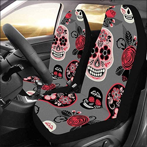 INTERESTPRINT Dia De Los Muertos Day of The Dead Car Seat Cover Front Seats Only Full Set of 2, Entire Seat Protection, Car Front Seat Cushion for Pets Running Gym