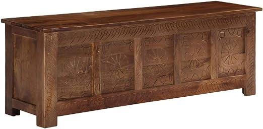 UnfadeMemory Baúl de Madera con 1 Armario,Arcon de Almacenaje,Caja Madera Decorativa,Rústico,Madera Maciza de Mango,120x30x40cm: Amazon.es: Hogar