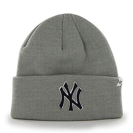 Amazon.com   New York Yankees MLB Baseball Beanie Cap Gray Winter Knit Cuff  Hat   Sports   Outdoors 2b204ed6c38