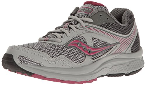 Saucony Women's Cohesion TR10 Trail Runner, Gray/Plum, 10 M US