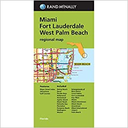 Folded Map Miami Fort Lauderdale and West Palm Beach Regional Map