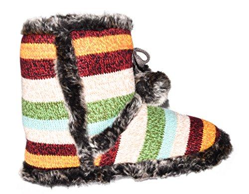 BTS - Zapatillas de estar por casa de tela para mujer Rot/ Gruen