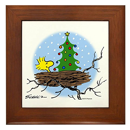 CafePress Woodstock Christmas Framed Tile, Decorative Tile Wall Hanging