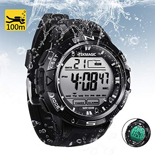 Sports Watch 100m (TEKMAGIC 10 ATM Digital Submersible Diving Watch 100m Water Resistant Swimming Sport Wristwatch Luminous LCD Screen with Stopwatch Alarm Function)