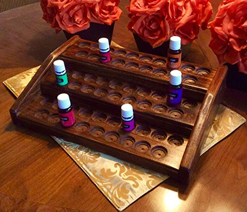Essential oils rack/display, EO storage stand for 57 bottles, oil organizer w/dual bottle sizing, EO holder for 5ml and 15ml bottles, 4 colors! perfect fit for Young Living and doTerra oils! ()