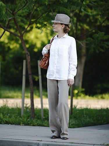 Blusa de lino en color blanco modelo Jacky