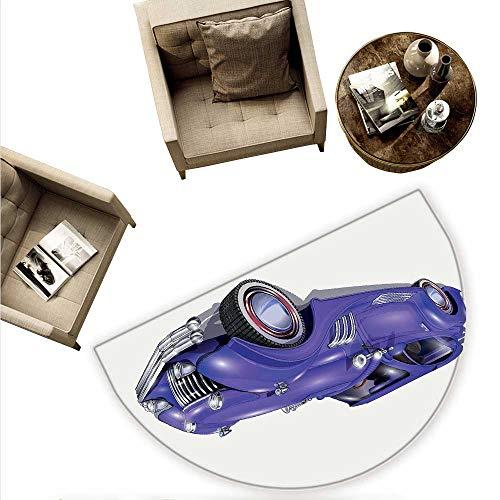 Cars Half Round Door mats Custom Vehicle with Aerodynamic Design for High Speeds Cool Wheels Hood Spoilers Bathroom Mat H 59