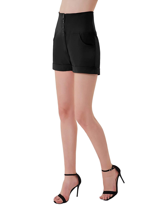 GRACE KARIN Donna Elegante Pantaloncini Estivi a Vita Alta Elastico Pantaloncini Slim Bodycon Casual