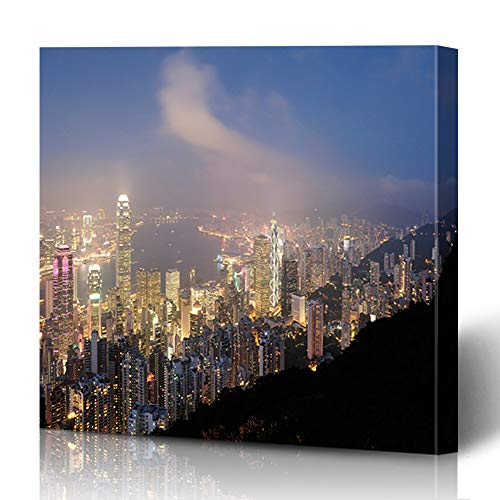 Bracket Wall Cityscape (Ahawoso Canvas Prints Wall Art 12x16 Inches Central Asia Hong Kong View Fro Victoria Light Peak Center City Cityscape Design Decor for Living Room Office Bedroom)