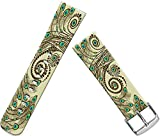 Iwatch Bands 42Mm, Genuine Leather Apple Watch 42Mm Strap Replacement Colorful Beautiful Peacock Tail Feather Pattern