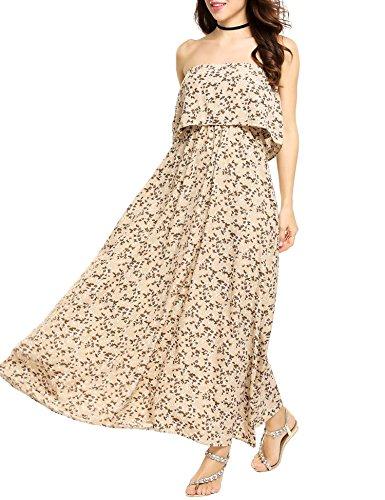 Zeagoo Maxi Wrap Floral Neck Slit Sleeve Long V Women Pat3 Long Beach Chiffon Dress Deep PSrPXnqz